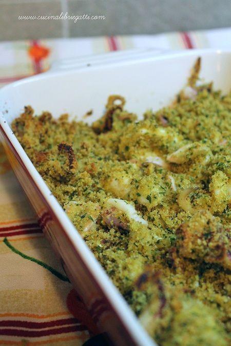 Photo of baked calamari au gratin