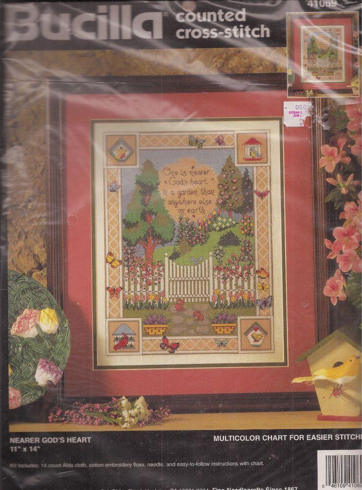 Nearer God's Heart Counted Cross Stitch Kit Bucilla 41069 God's Garden Verse #Bucilla #Picture
