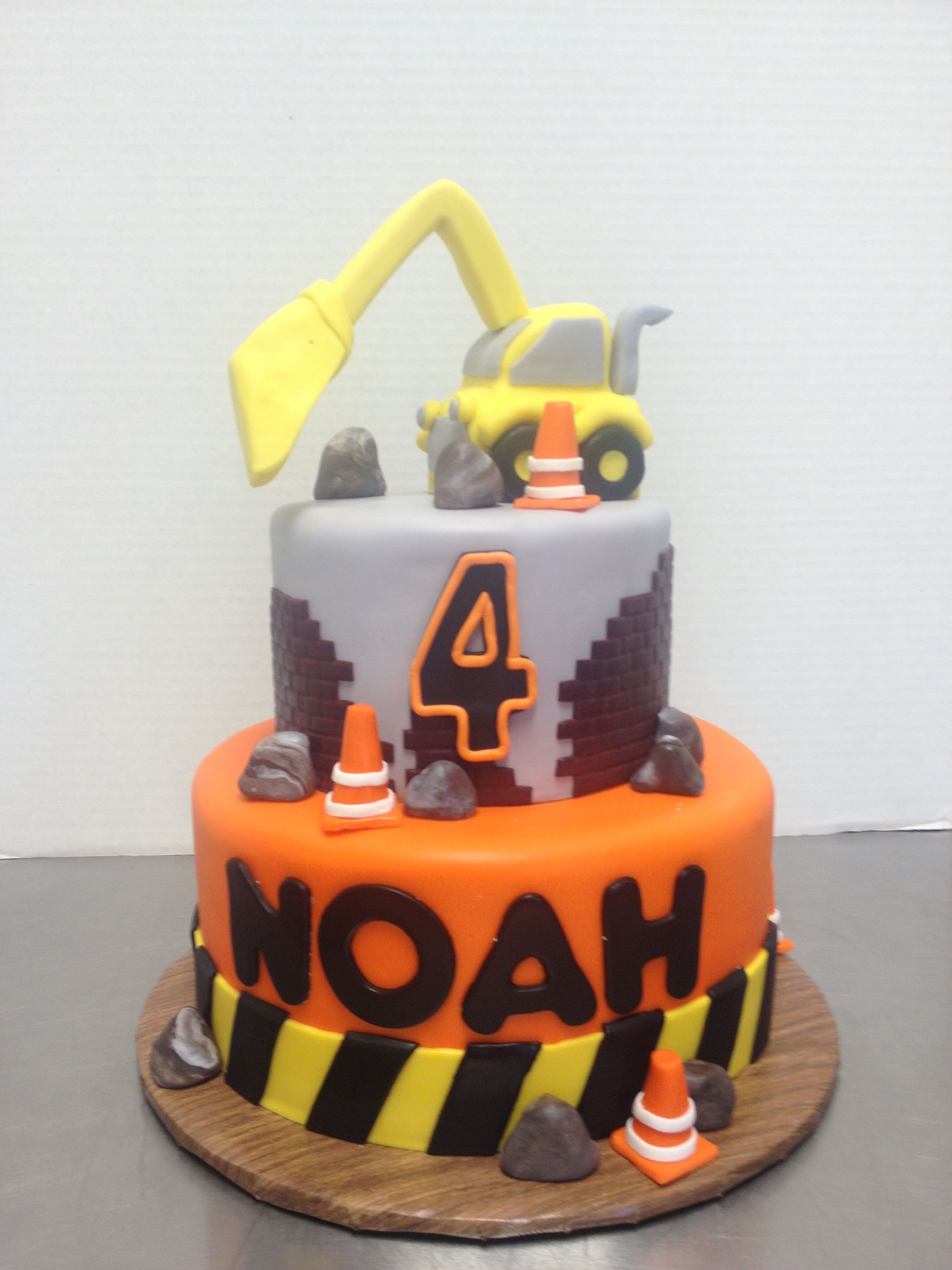 Phenomenal Loving This Construction Themed Birthday Cake With A Backhoe Funny Birthday Cards Online Elaedamsfinfo
