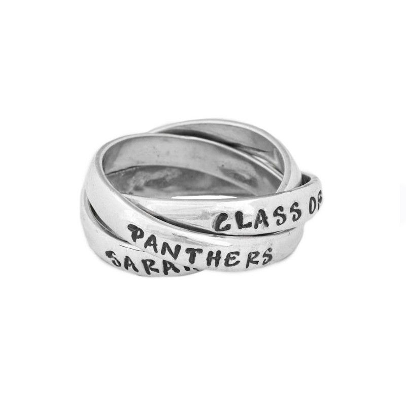 Personalized Class Ring Silver, Triple Ring | CUSTOM NAME