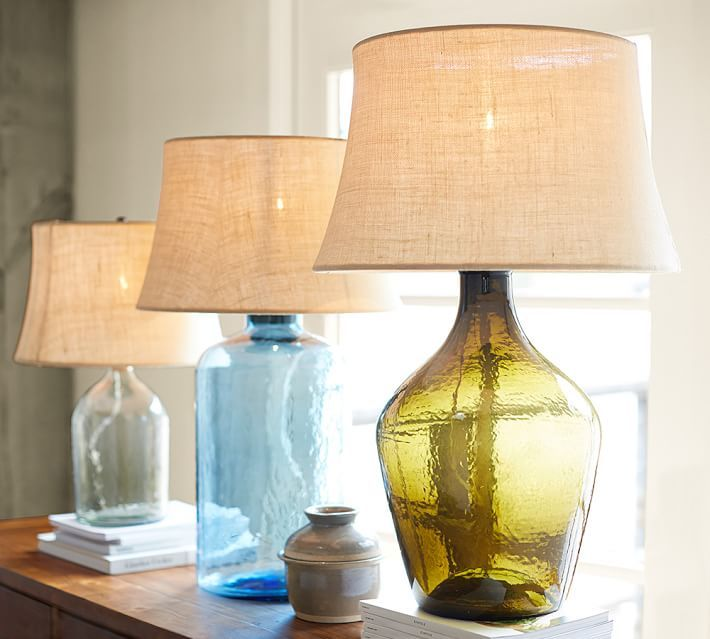 Lamps Blue Glass Table Lamp Fillable Glass Table Lamp Black Glass