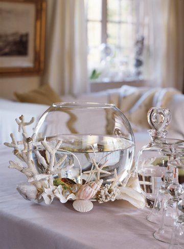 un bocal d cor de coquillages bocaux en verre centres de table et bocal. Black Bedroom Furniture Sets. Home Design Ideas