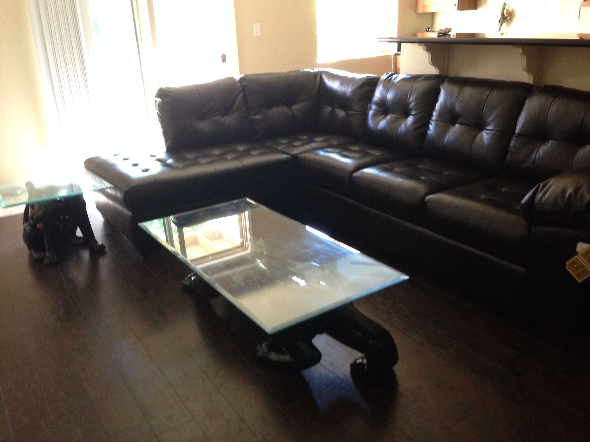 Chocolate leather sectional with vintage black panther coffee