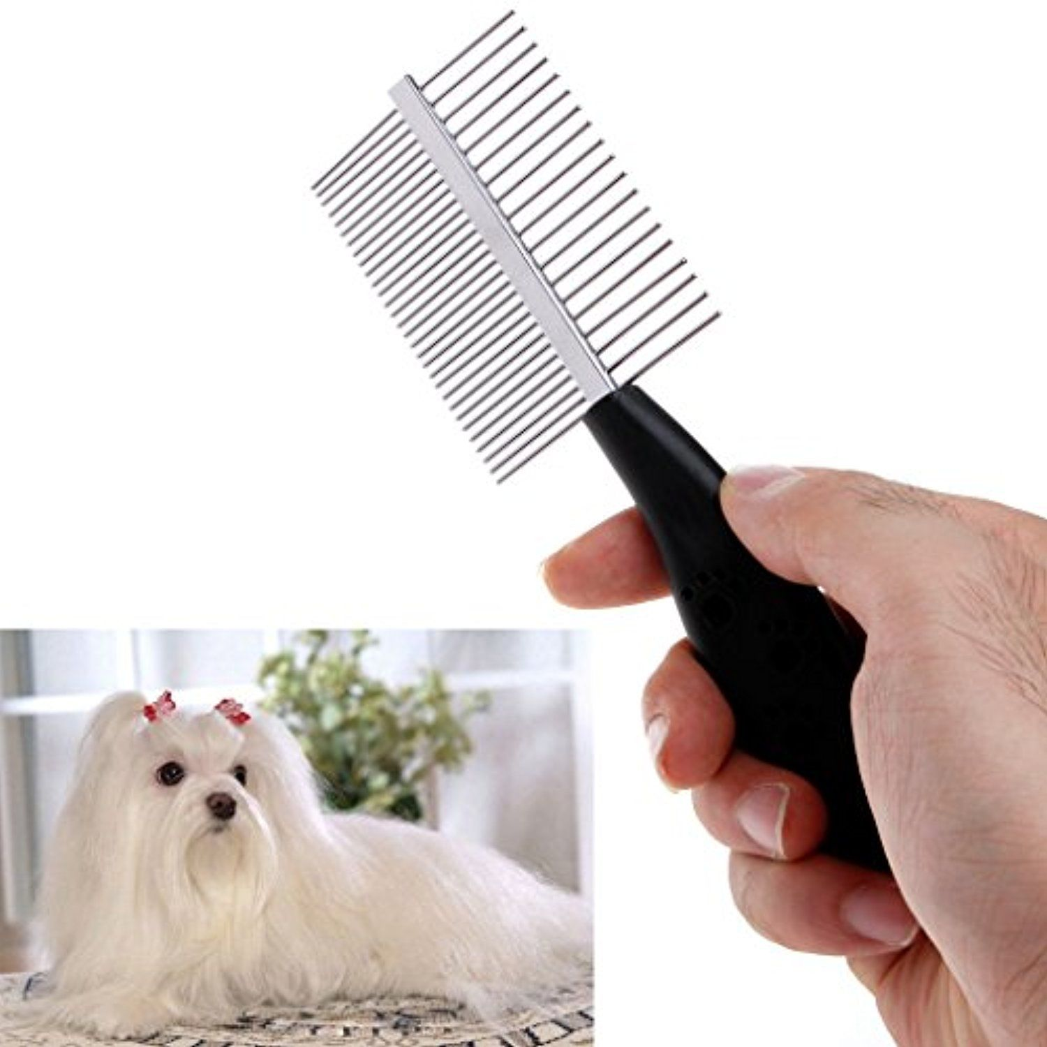 Amrka Pet Cat Dog Trimmer Grooming Comb Brush Anti Static Rake Hair Shedding 2 Sides Click Image To Review More De Cat Grooming Tools Grooming Comb Grooming