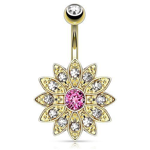 Bauchnabelpiercing mit Kristallen besetzte Top Down Blume
