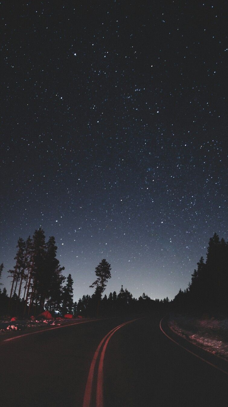 Night Stars Road Side Camping iPhone Wallpaper #iphonewallpaper