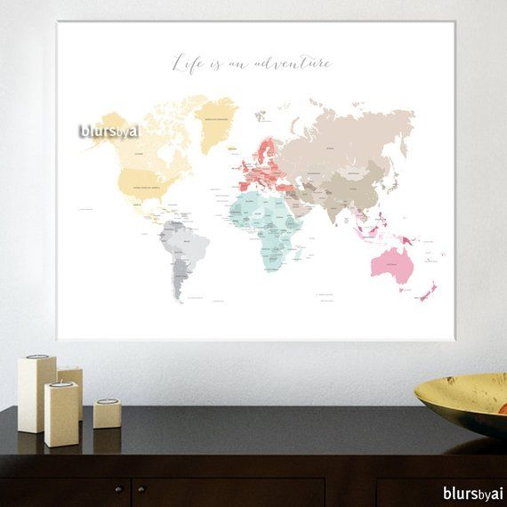 "30x24"" 24x18"" Printable world map diy travel pinboard map pastels"