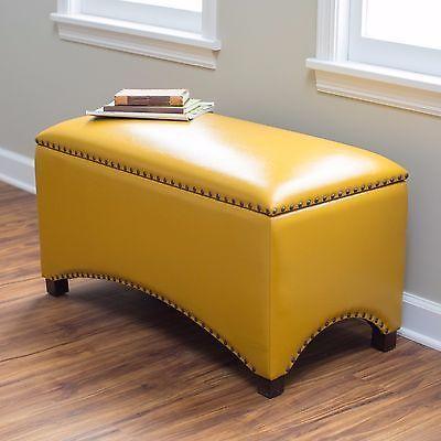 Storage Bench Seat Indoor Mustard Yellow Ottoman Flip Top Interior Leather Storage Bench Seating Storage Bench Bedroom Yellow Home Decor
