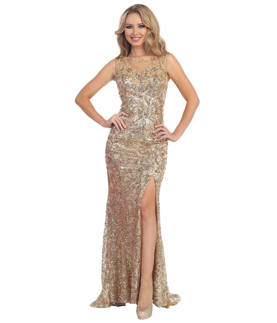 Sequin Sheer Prom Dress