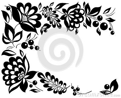 Black And White Flowers And Leaves Design Element Royalty Free .