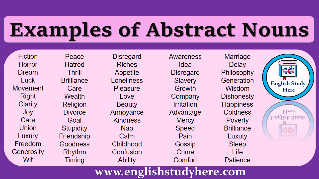 Abstract nouns in english, detailed abstract nouns, examples of ...
