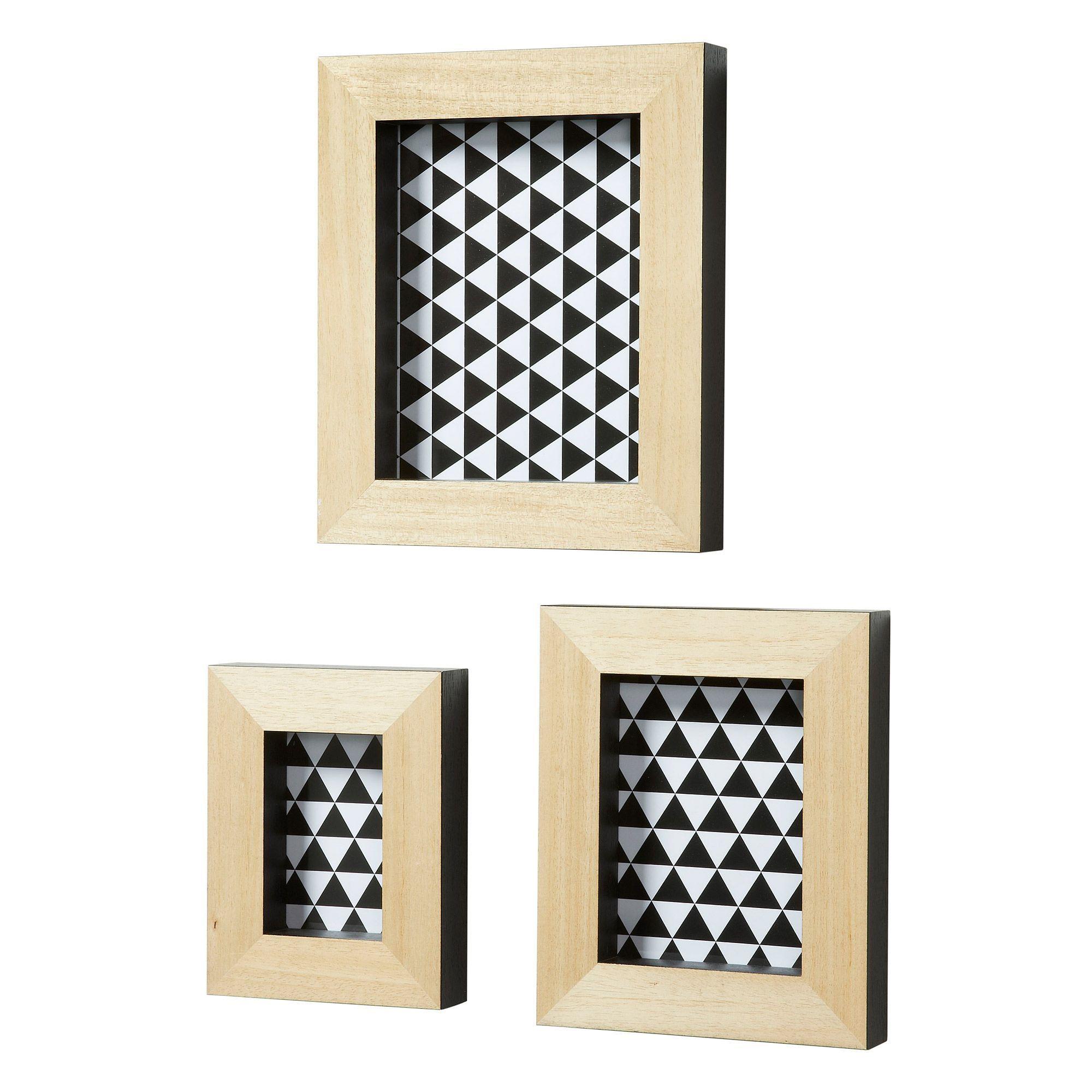 Set de 3 cadre photos avec baguette en bois Déco Scandinave