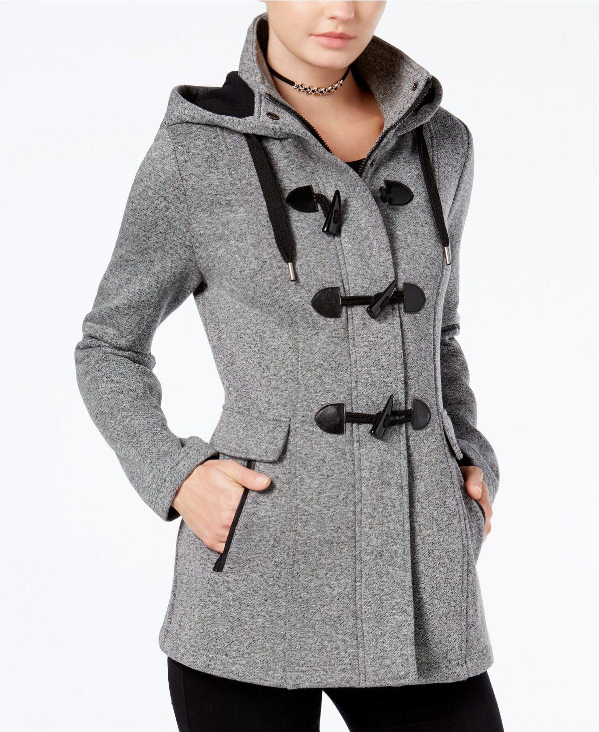 Bcx Juniors Hooded Toggle Peacoat Juniors Coats Macy S Junior Coats Peacoat Grey Hooded Coat [ 1467 x 1200 Pixel ]