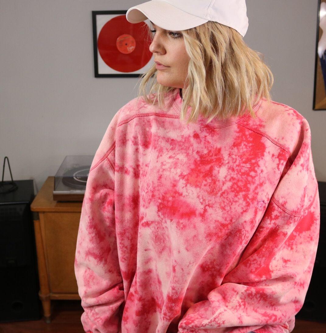 Peppermint patty bleached champion sweatshirt tie dye