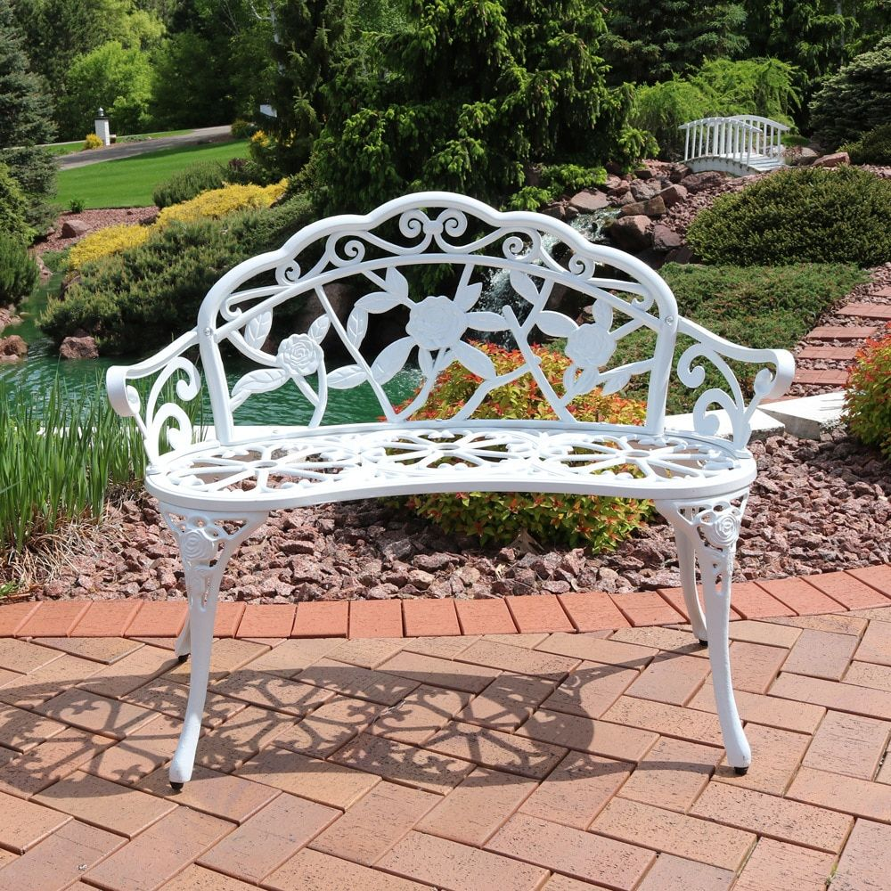 Sunnydaze 2 Person Cast Aluminum Classic Rose Garden Bench White