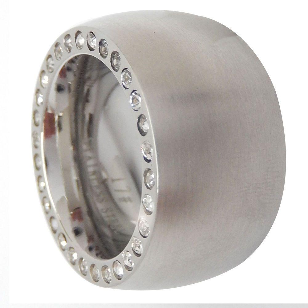 Edelstahl Ring Damen silber matt massiv 14mm weiße Steine