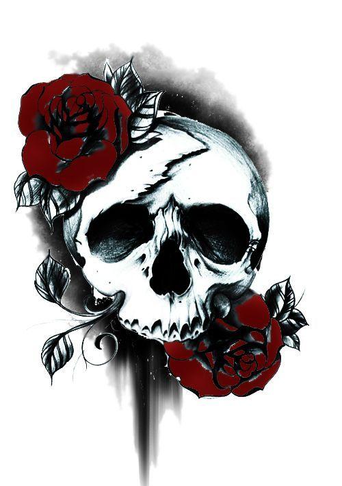 Skull And Roses Tattoo Tattoo Ideas Pinterest Skull Rose Tattoos Skulls And Roses Rose Tattoo Design