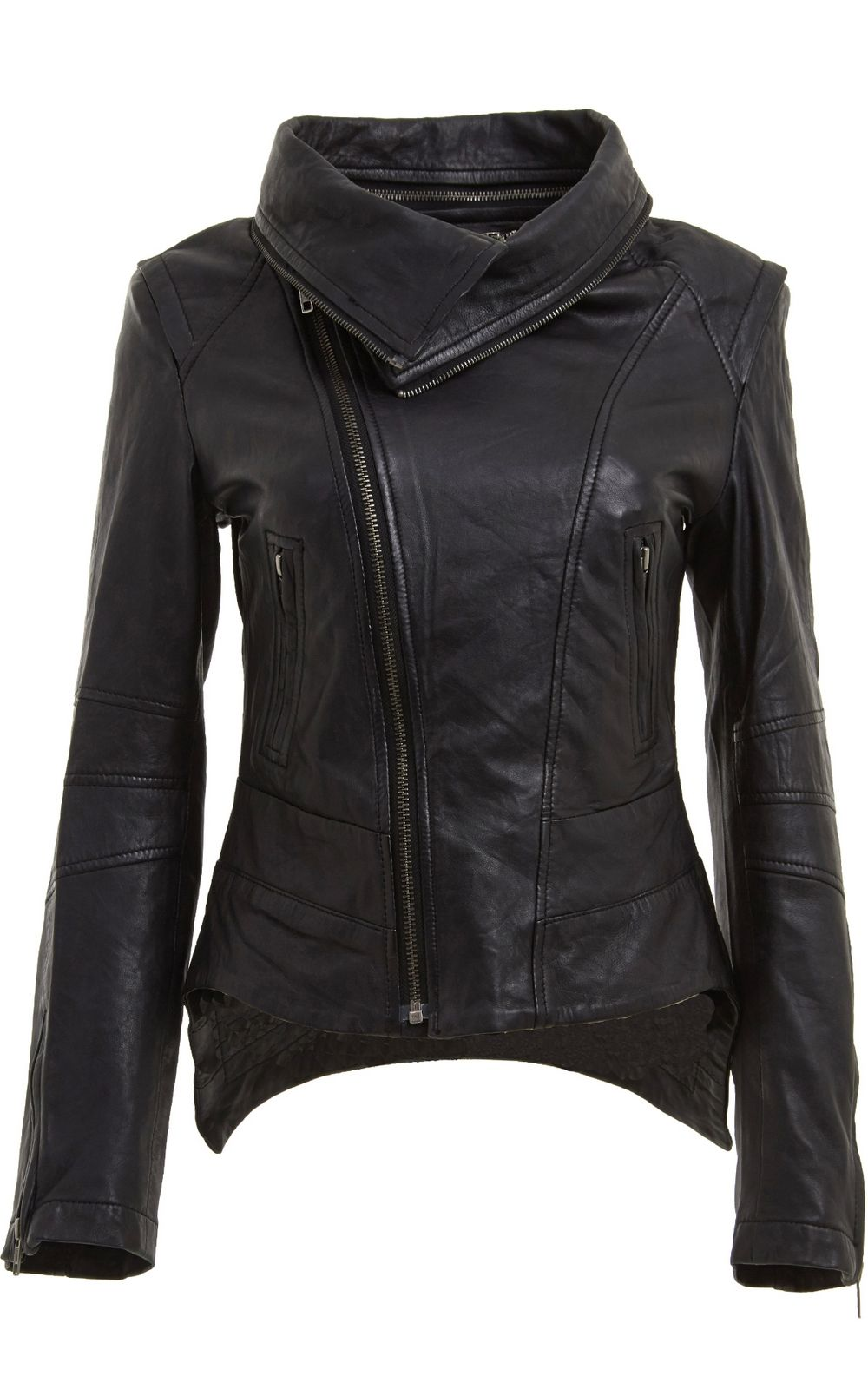 Womens Removable Zip Neck Black Leather Jacket side shot | oooh ...