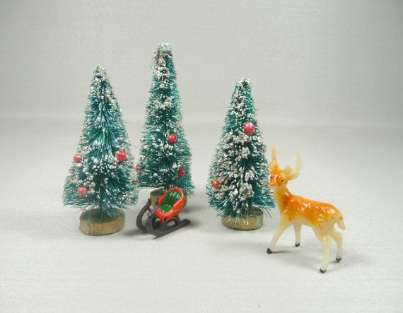 vintage bottle brush trees christmas decoration for crafts display assemblages nos retro set of 3 special