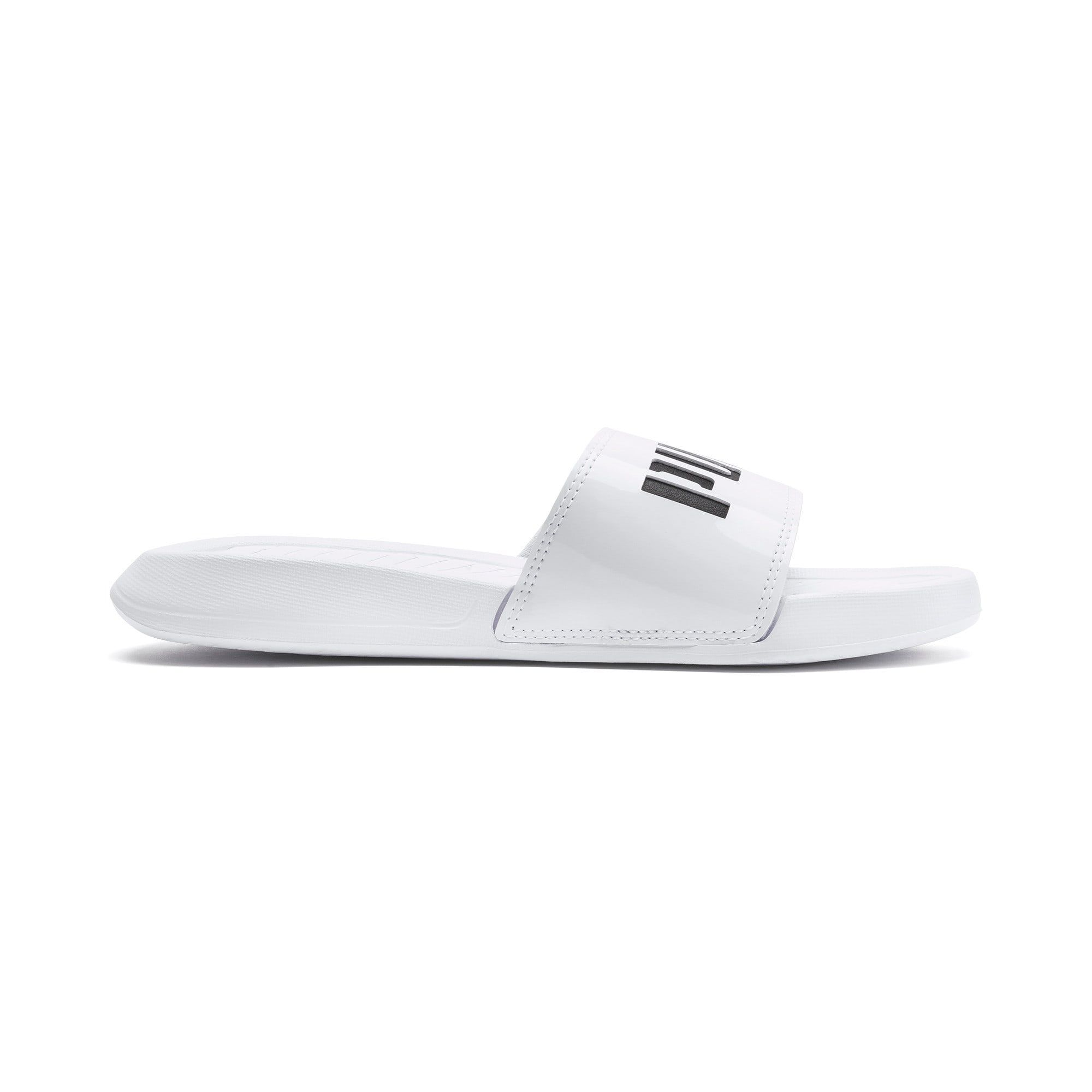 PUMA Popcat Patent Women's Sandals in White/Black size 8 #highsandals