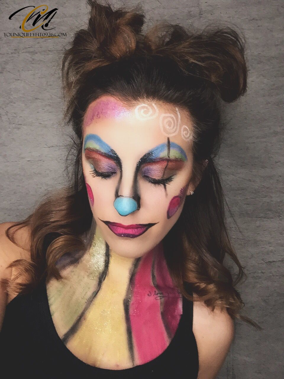Halloween clown makeup creation using all younique products expect