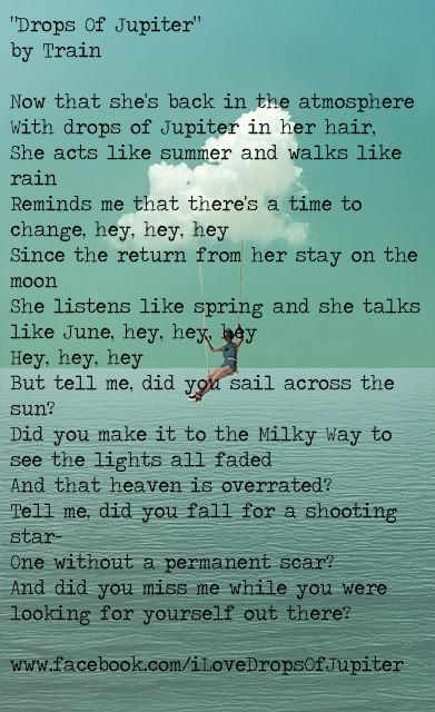Drops Of Jupiter Music Lyrics Music Lyrics Pinterest Swimming My Heart And Lyrics