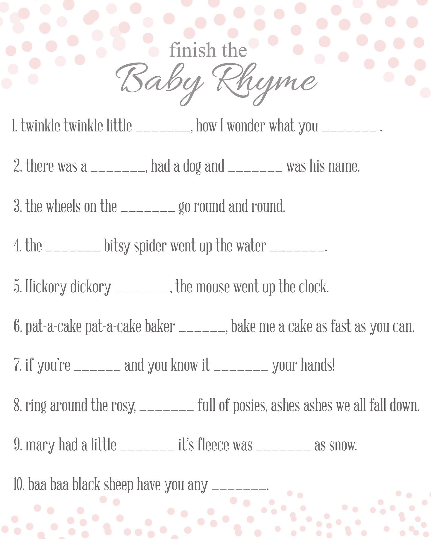 Finish The Rhyme Baby Shower Game