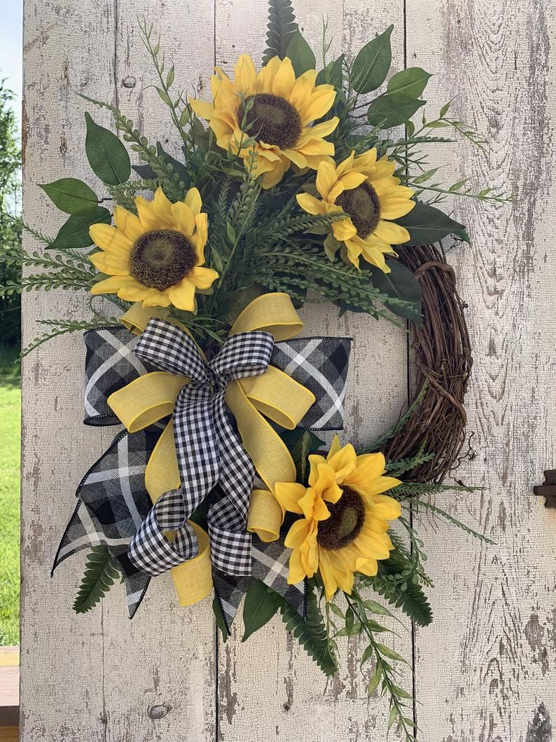 Photo of BEST SELLER Sunflower wreath, Summer wreaths for front door, Year round wreath, Fall wreaths, Free shipping