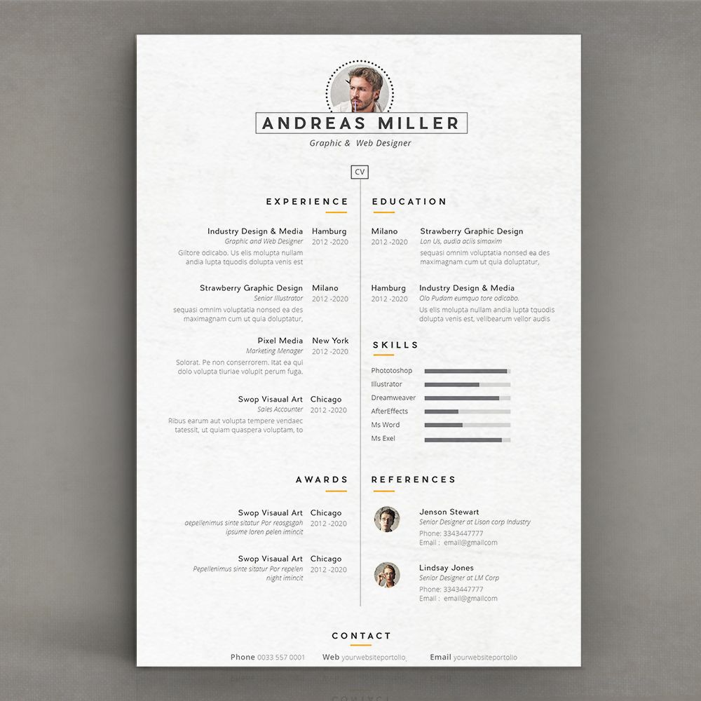 cv resume template on behance