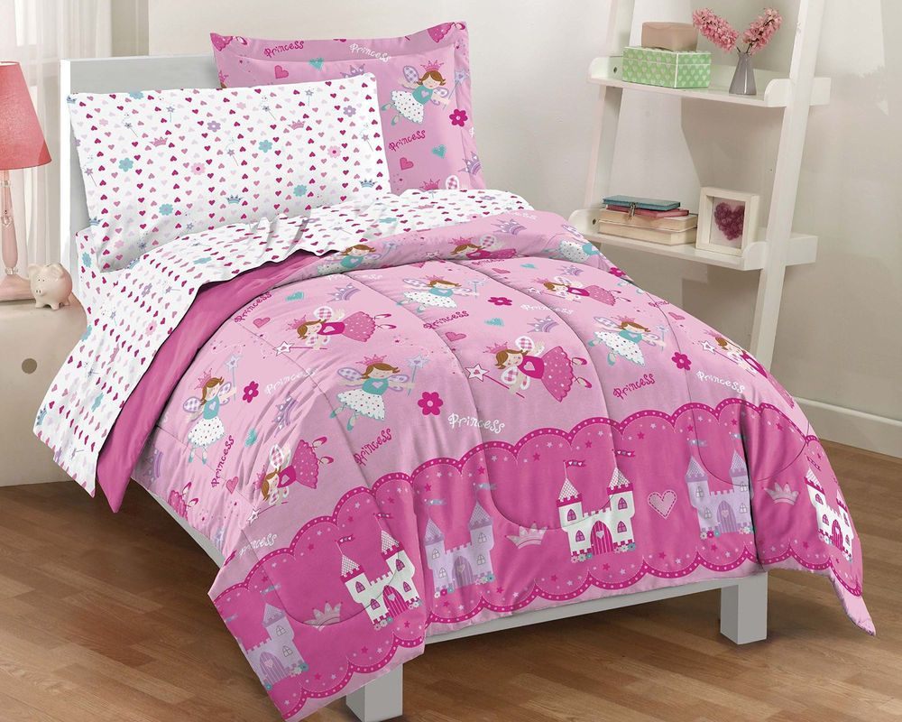 Kids Twin Bed Bedding Set Princess Girls Pink Disney Toddler Dream