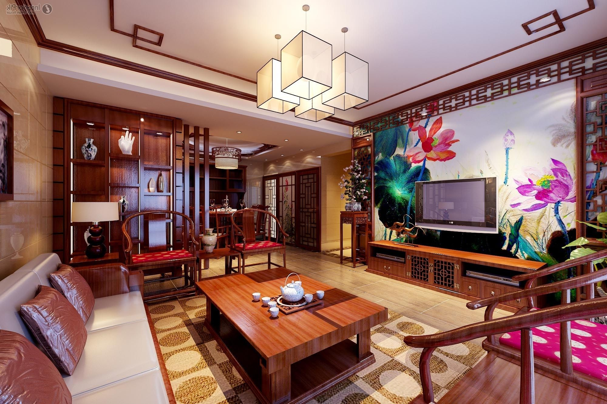 luxury classical chinese living room with great chinese ornaments