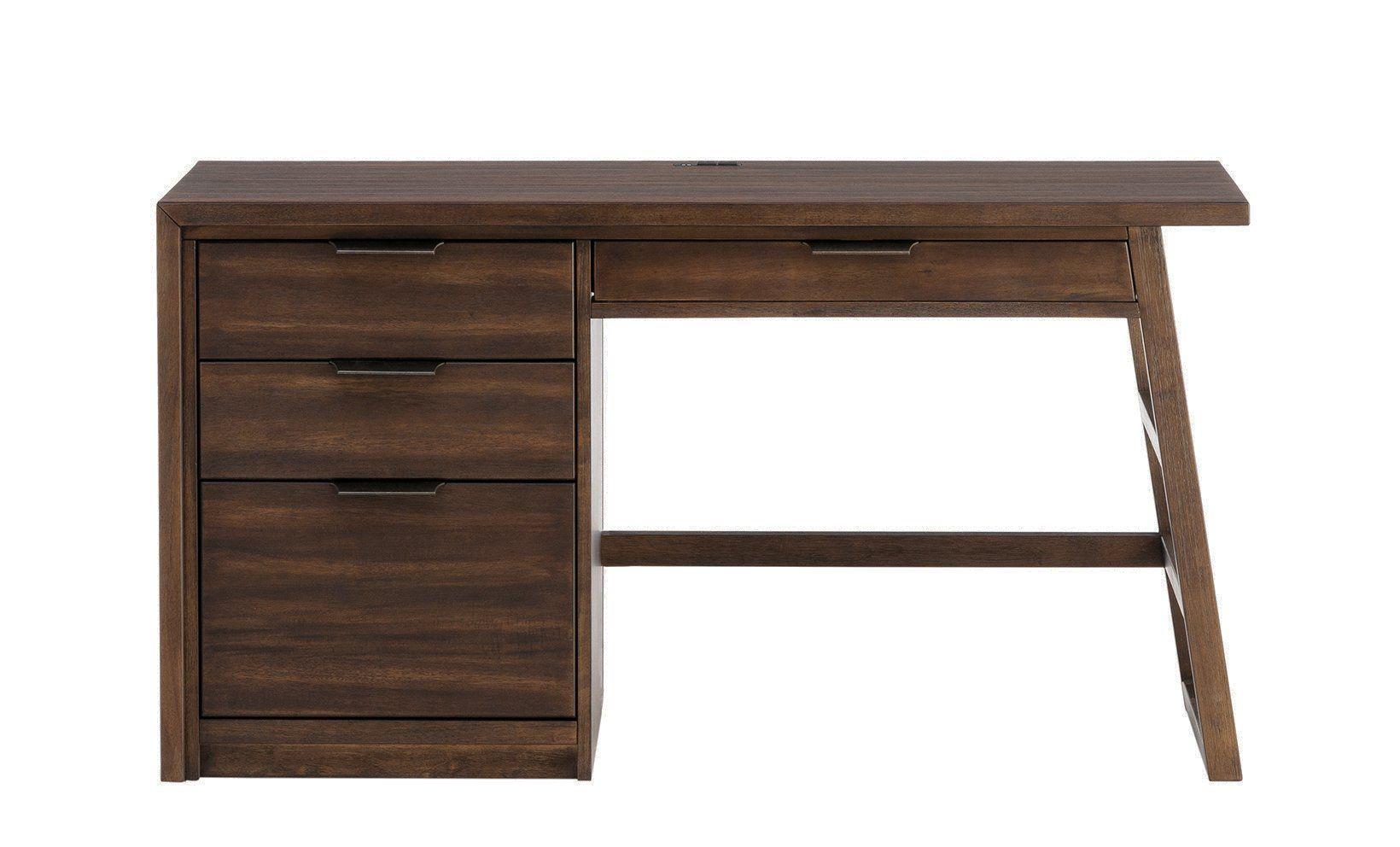 Perspectives brushed acacia single pedestal desk