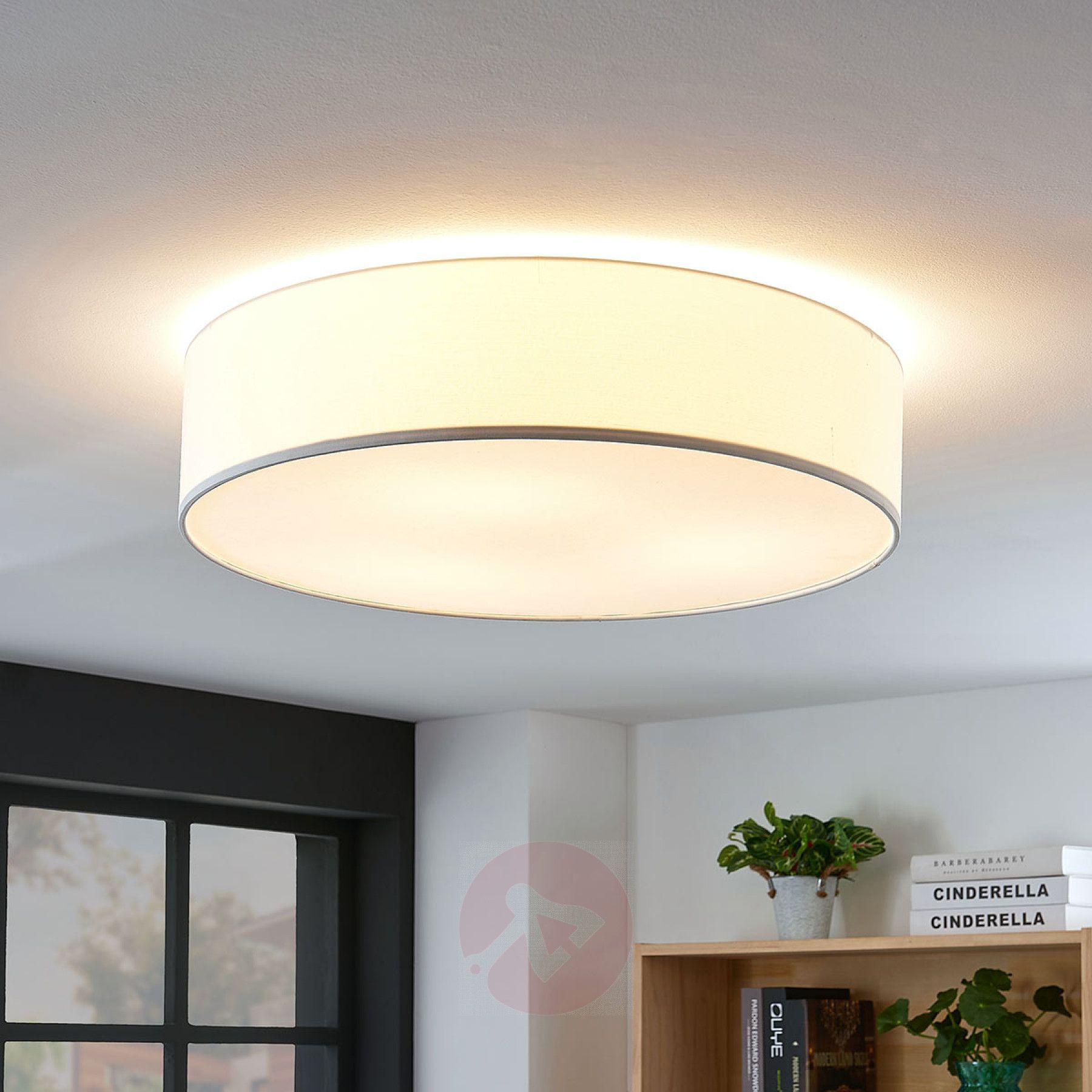 Stoff Deckenlampe Gordana In Weiss Kaufen Lampenwelt De Deckenlampe Beleuchtung Decke Lampen