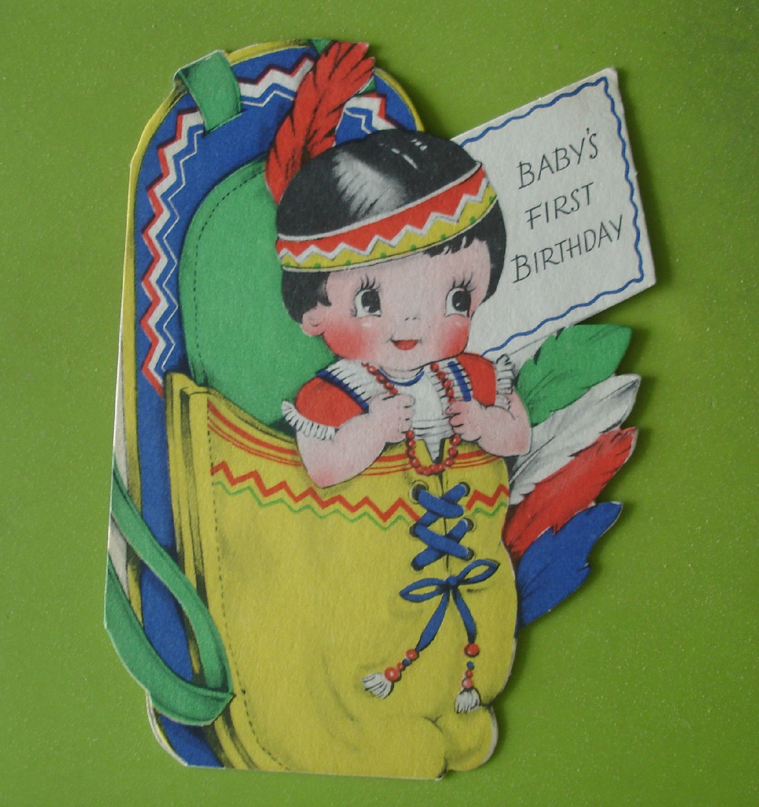 Vtg Gibson Birthday Card Baby S First Birthday Cute Indian Baby Die