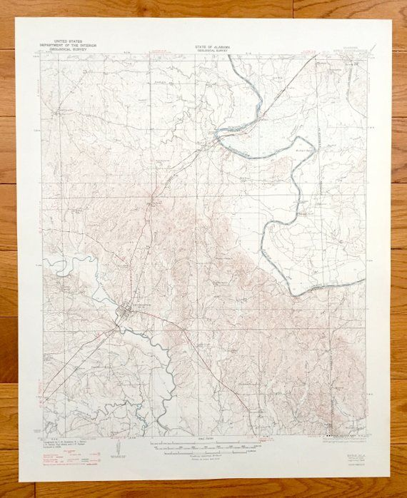 Antique Epes Alabama 1932 US Geological Survey Topographic Map