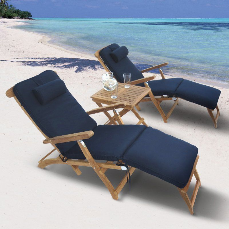 Outdoor Royal Teak Steamer Chaise Lounge Set Without Cushions - P59WO