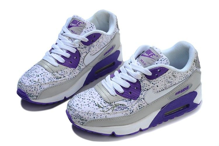 Women's Nike Air Max 90 Floral Flower Art Series Shoes Silver Electric  Indigo White Online Store