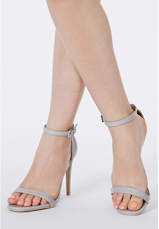 9a4d08313c9 Grey Leather Heeled Sandals: Missguided Clara Grey Strappy Heeled ...