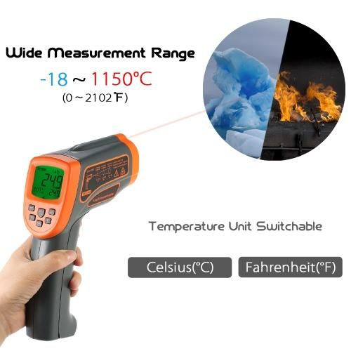 SMART SENSOR Non-contact IR Infrared Thermometer Portable Handheld Digital  Temperature Tester Pyrometer LCD Display with Backlight Centigrade  Fahrenheit ... 5920540b17be2