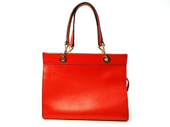 Celine Vintage Red Shoppers Tote Hand bag  by gailparker4 on Etsy, $197.00