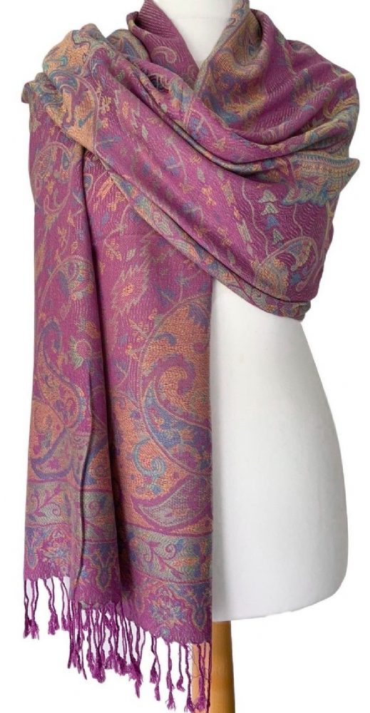Pink Pashmina Floral Wrap Ladies Shawl Oversized Scarf Blue Flowers New