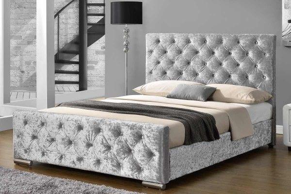 buckingham crushed silver velvet fabric upholstered bed frame