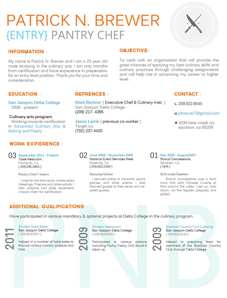 Culinary Resume By BreannaDollyDeviantartCom On Deviantart