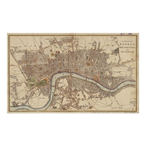 Vintage Map of London England 1807 Poster