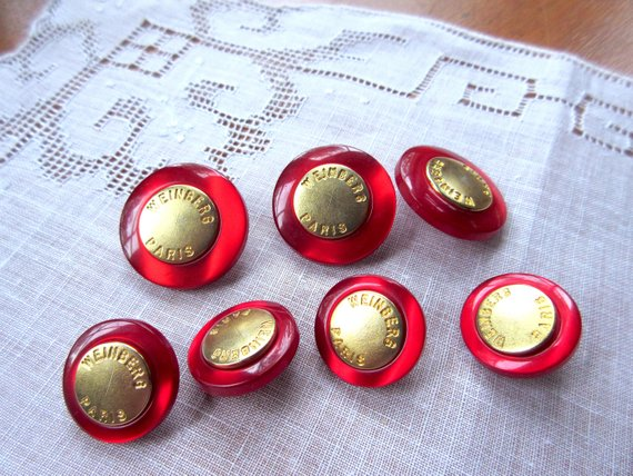 Vintage Red Buttons Weinberg Paris Red and Gold Buttons