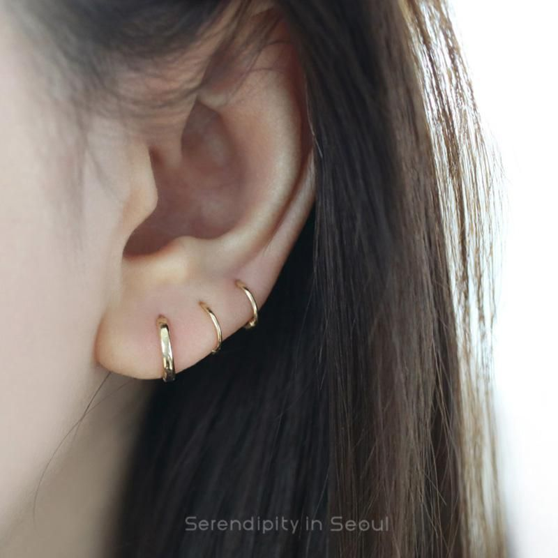 Small Thin Huggie Hoop Earrings Made From 14k Gold Website Has Lots Of Super Cute Minimalist