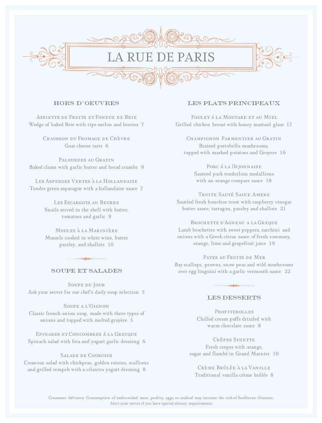 Beautiful French Bistro Menu Ideas