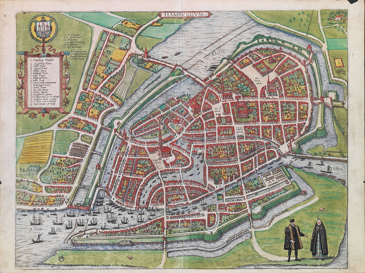 Hamburg c 1590 by Georg Braun & Frans Hogenberg map hamburg