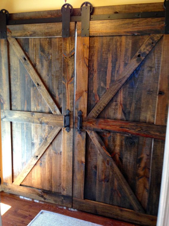 "Sliding Barn Door Designs: British Brace Double Barn Doors (84""x36""x1.5"" Each)- Dark"
