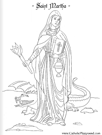Saint Martha Catholic Coloring Page Feast Day Is July 29